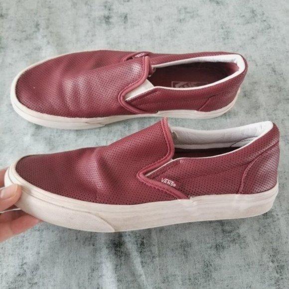 Vans Women's Red Leather Sneaker Low top Size 9